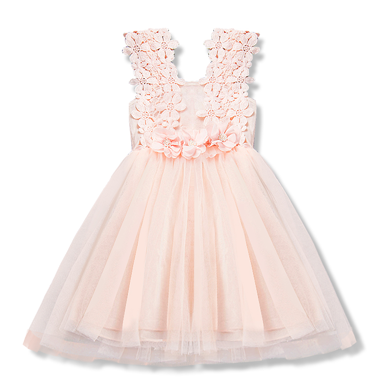Sweet Pink Baby Girl Summer Clothes Toddler Infant Birthday Dress Vetement Enfant Fille Dresses Causal Flower for 6T Kids Girl