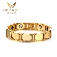 11MM Tungsten Steel Magnetic Health Bracelet Golden Men Bracelets Bangles Fashion Jewelry 21cm Long