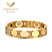 11MM Tungsten Steel Magnetic Health Bracelet Golden Men Bracelets Bangles Fashion Jewelry 21cm Long