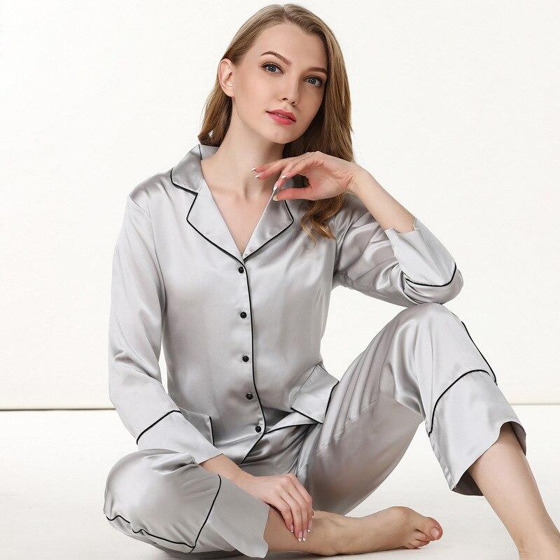 19 Mumi Heavy Silk Women 39 s Pajamas 100 Silkworm Silk Sleepwear Pure Color Long Sleeve Pyjama Pants Two Piece Sets T8136 in Pajama Sets from Underwear amp Sleepwears
