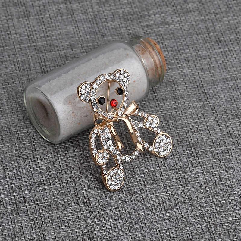 Delle Donne di modo Maglione Spille Oro Simpatico Cartone Animato Orso di Cristallo Spille Accessori Del Vestito di Strass Abiti Da Sera Delle Signore Dei Monili del Regalo