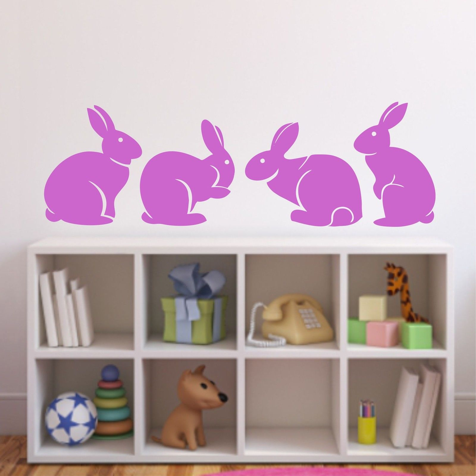 A007 Cute Bunny Rabbits Wall Sticker Baby Nursery Rabbitits Wall - Տնային դեկոր - Լուսանկար 4