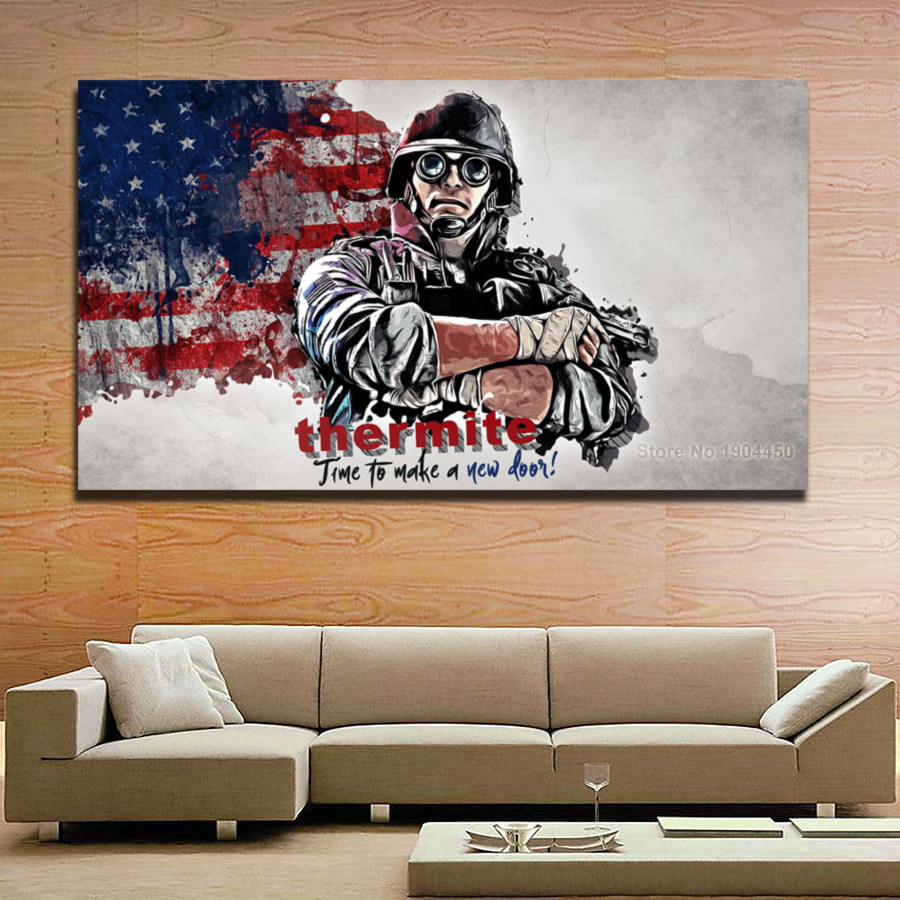 No Frames Canvas Wall Art American Soldier Flag Painting Modular Picture HD Prints Artwork Poster for Bedroom Home Decoration no frame canvas