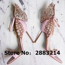 Evangeline Angel Wing Gold Sandaal lederen Bruiloft Pompen Roze Glitter Schoenen Vrouwen 3D Vlinder Hoge Hakken Schoenen Maat 42