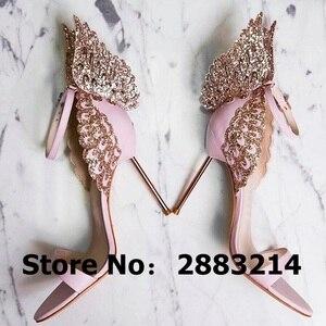 Image 1 - Evangeline sandale dange dorée, escarpins de mariage en cuir véritable, rose à paillettes, chaussures à talons hauts 3D, papillon, taille 42