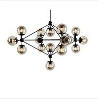 New fashion 15 lampadine led dna fagiolo magico modo del pendente luce breve soffitto lampada di ferro lampada a sospensione palla di vetro