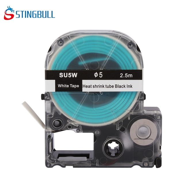 SU5W Compatible Label Printer Ribbons Heat Shrink Tube Black Ink on ...