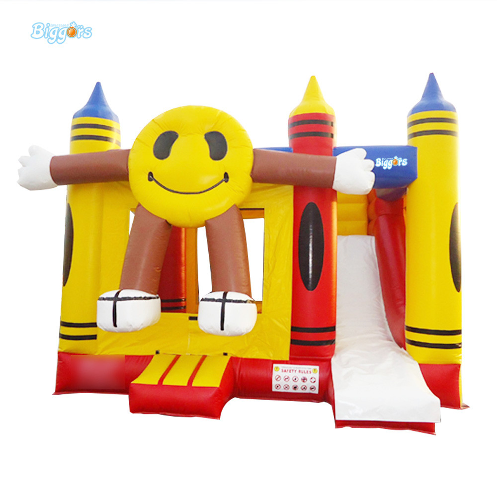 Outdoor inflatable smile bouncy castle with slide bounce house slide combo with bouncer free by sea cartoon printing inflatable bouncer inflatable bouncer slide combo commercial inflatable bouncy castle for sale