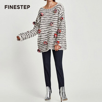 Women Winter Sweater Funny Pullovers With Woolen Balls Womans Black And White Striped Sweaters