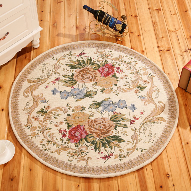 Tapis européens pastoraux ronds pour salon frais maison chambre tapis de sol ordinateur chaise enfants aire de jeux tapis vente chaude