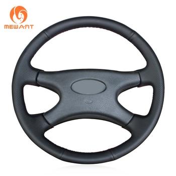 MEWANT Black Genuine Leather Car Steering Wheel Cover for Lada Niva 2006-2017 2107 1997-2012