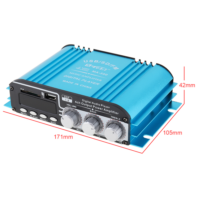 4CH Car Audio Power Stereo Amplifier FM Radio Player Support SD USB DVD MP3 with Remote Controller for Car Motorcycle Home Audio 1