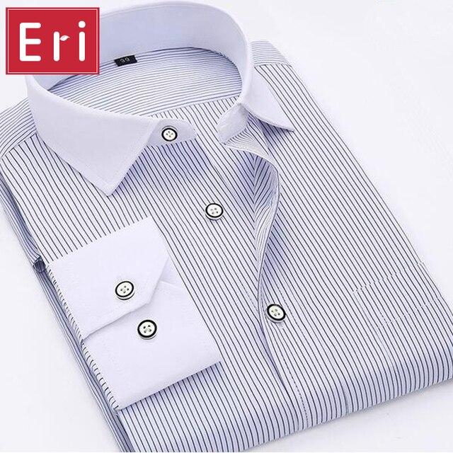 4761ebf3989 Fashion Men s Shirt Striped Classic Cotton Long Sleeve Business Dress Shirts  Formal Social Brand Clothing Chemise