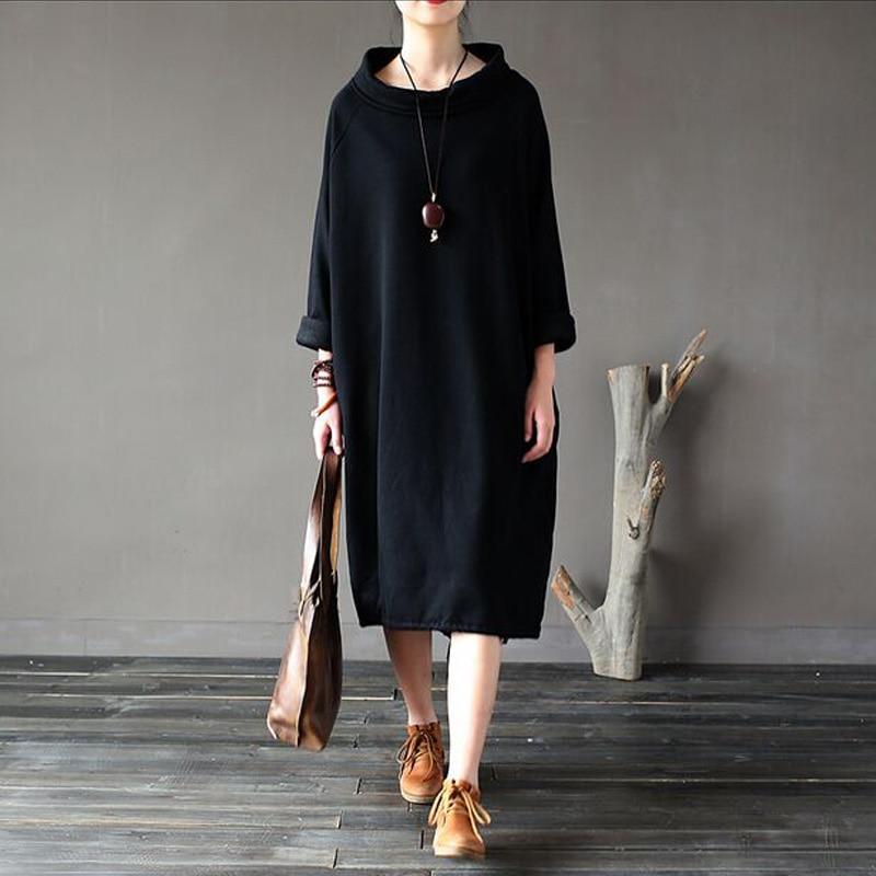 2017 New Fashion Women Long-Sleeve Long Robe Loose Casual Dress 100% Cotton Women Plus Size Dress Spring Autumn Dress