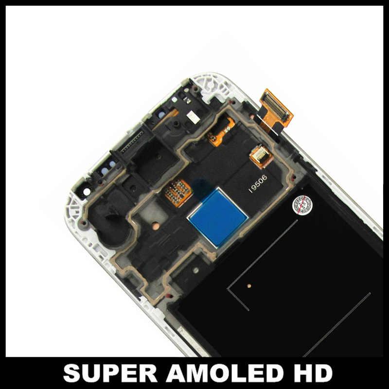 سوبر AMOLED شاشات LCD لسامسونج غالاكسي S4 i9506 LCD 100% اختبار عرض مجموعة المحولات الرقمية لشاشة تعمل بلمس مع إطار الزجاج المقسى