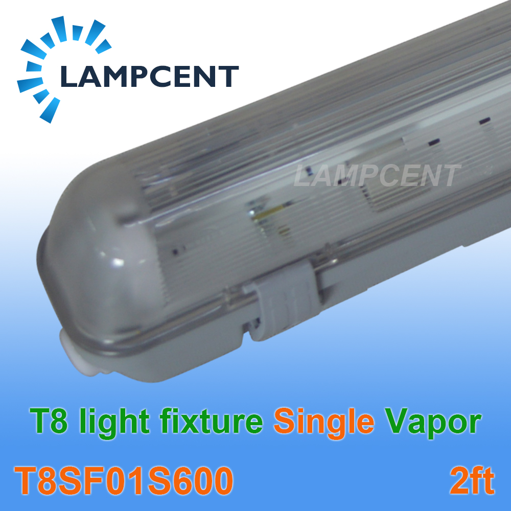 Free Shipping Single Bulb 60cm Vapor Water Tight Ceiling T8 led Light Fixture IP65 2FT Fitting