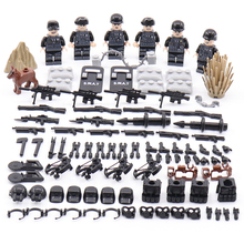 NEW 6pcs SWAT city personnel police military commando figures weapons building blocks Compatible Legoed city military blocks toy
