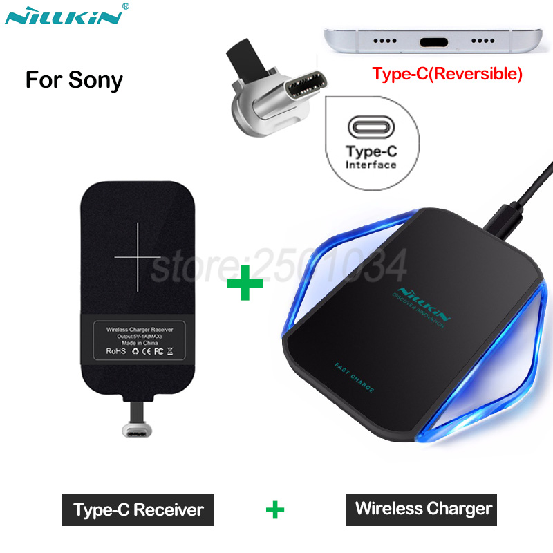 Nillkin Qi Wireless Charging for Sony Xperia XA1 XA2 XZ XZ1 Compact Premium Plus Ultra L2 L1 Wireless Charger + Type-C Receiver