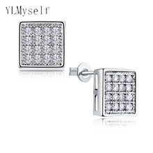 7mm diameter square shape elegant stud earrings for daily wear White color Micro setting Tiny CZ stones Earring for statement
