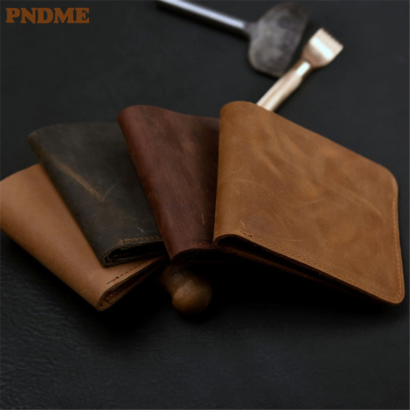 PNDME retro simple handmade cowhideleather wallet ultra-thin genuine leather money clips men and women short paragraph