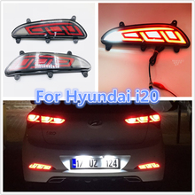 цена на one sets led rear bumper light turn signal fog lamp brake driving light reverse for Hyundai i20 2016 2017 2018 brake light