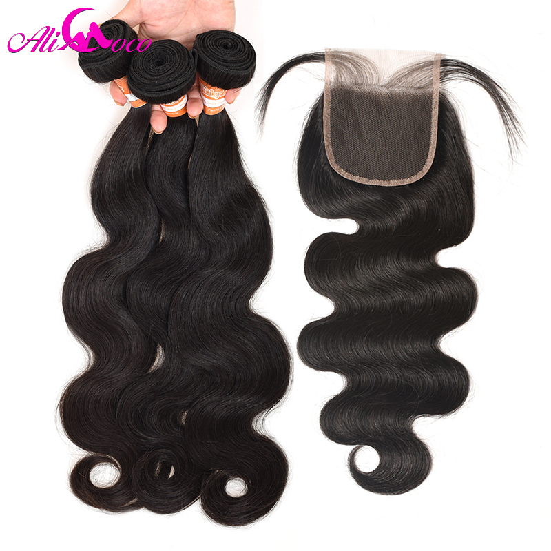 Ali Coco Malaysia Body Wave With Lace Closure 4*4 Human Hair 3 Bundles With Baby Closure Free/Middle/Three Part Non remy Hair-in 3/4 Bundles with Closure from Hair Extensions & Wigs    1