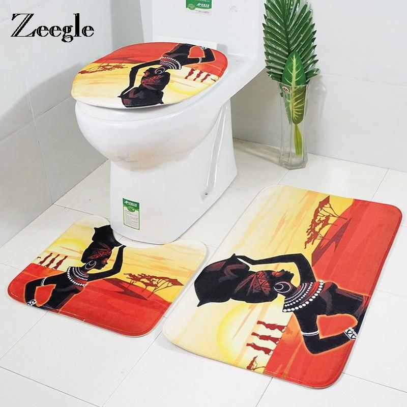 Zeegle African Woman Toilet Rug Non Slip Bath Mat