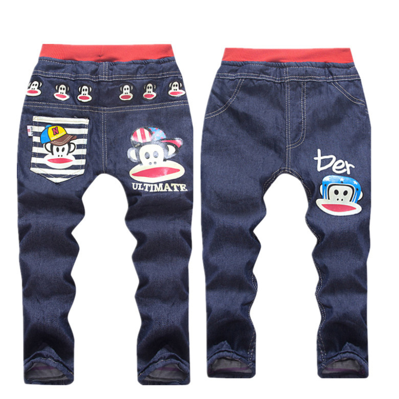boy spring/autumn fashion cartoon kids pants girls baby boys jeans children jeans for boys casual denim pants 3-7Y baby clothes(China)
