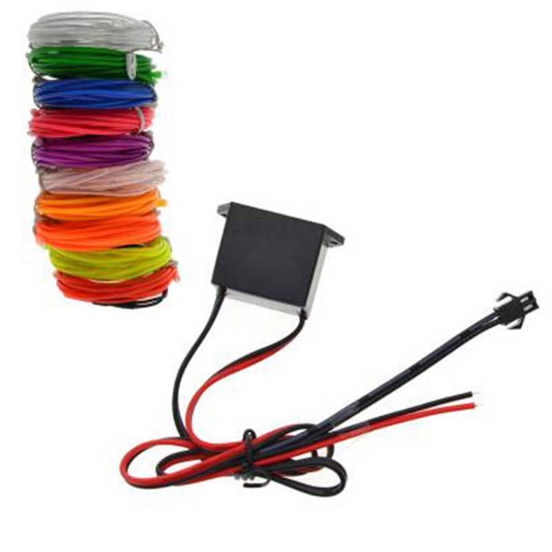 12V Inverter EL Wire Neon Glowing Strobing Car Interior Lights Halloween Christmas Dance Party Decor Led String Neon Lights