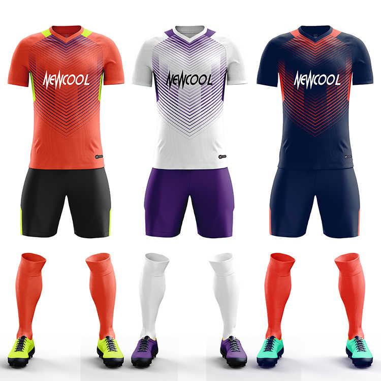 8f4126d5195 ... Survetement Football 2019 New Kids Men Soccer Jerseys Set Blank Soccer  Team Training Suit Breathable Short ...