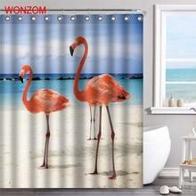 купить WONZOM Flamingo Waterproof Shower Curtain Animal Bathroom Decor Bird Decoration Cortina De Bano 2017 Bath Curtain Gift дешево