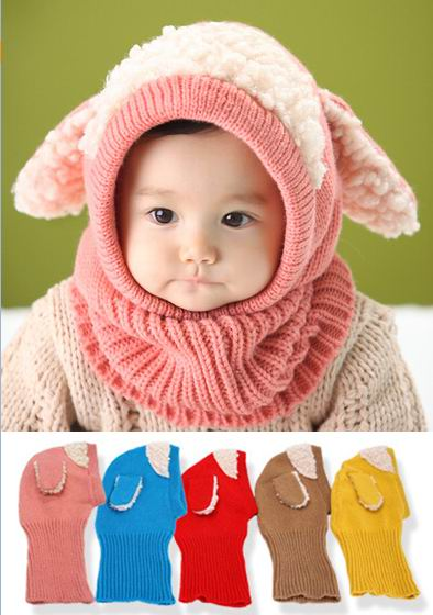 2016 Winter New Style Baby Hats Dog Ears Berber Fleece Knitted Cotton Hats Scarf 6-36M MZ2200