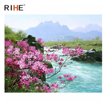 RIHE River Flower Diy Painting By Numbers Abstract Oil Painting On Canvas Cuadros Decoracion Acrylic Wall Picture Home Decor rihe fall park diy painting by numbers chair woman oil painting on canvas cuadros decoracion acrylic wall picture home decor