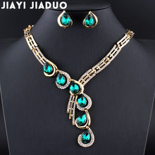 Jiayijiaduo Wedding Jewelry Sets for Women Gold Color Necklace Earrings Sets Parure Bijoux Femme Red Crystal Dress Accessories(China)