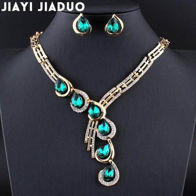 Jiayijiaduo boda juegos de joyería para las mujeres de Color oro collar pendientes conjuntos de Parure Bijoux hembra rojo de cristal accesorios de vestido