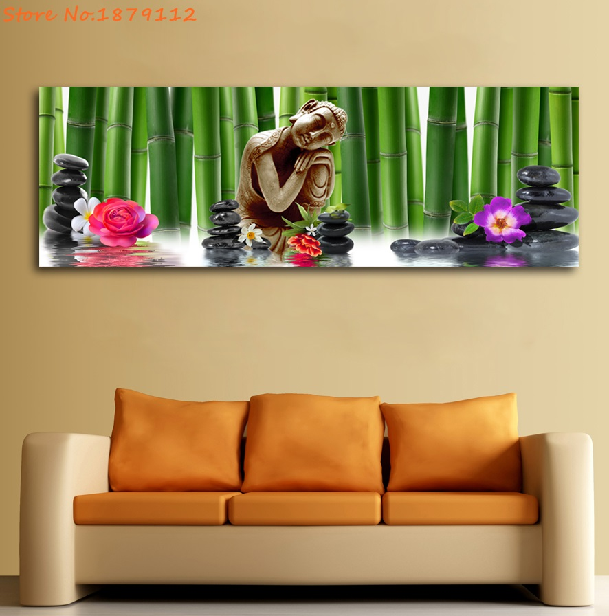 Relaxing Buddha Flower Bamboo Unframed Paintings 5 Panels HD ...