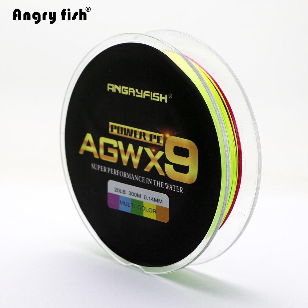 Angryfish 300 M 9 Fili Super-Tessuto Multicolor PE Intrecciato Linea di Pesca Forte Forza di Pesce Linea