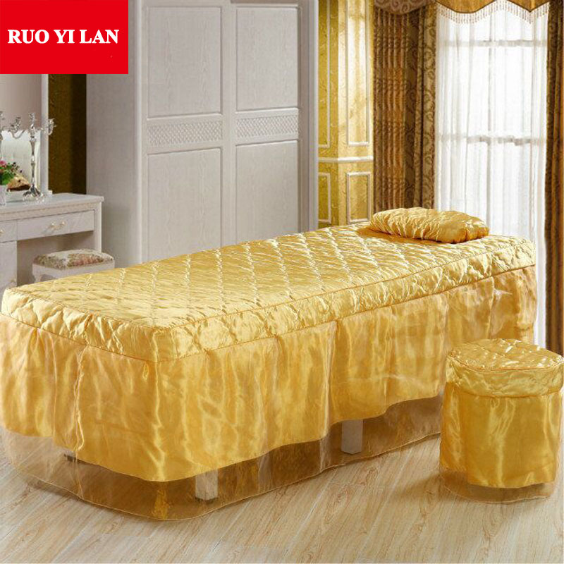 A Piece Solid Color Satin Beauty Bed Skirt Bed Sheet for Beauty Salon Bedspread 70*190cm Gold Coffee Pink Purple Free Shipping