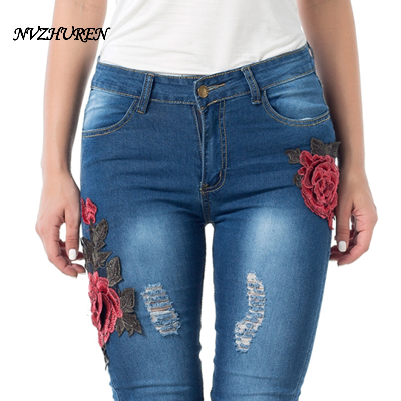NVZHUREN Embroidery Pencil Pants For Women Plus Size Hole Jeans Ripped Female Jeans Casual Denim Stretch Pants Ladies Trousers new female casual sexy rose denim jeans with embroidery ripped vintage pencil jeans for women cuffs long pants plus size 2xl