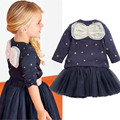 2015 New Girls Clothing set Star Pentagram long-sleeved T-shirt + skirt 2pcs pentacle suit navy bow Kids suits Party Free Ship