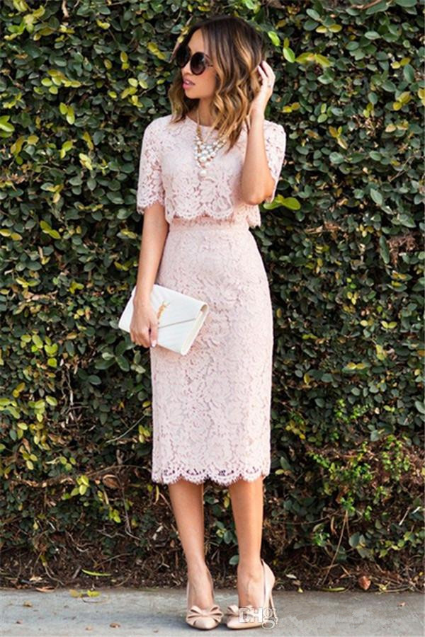 Blush 2019   Cocktail     Dresses   Sheath High Collar Half Sleeves Lace Knee Length Elegant Party Homecoming   Dresses