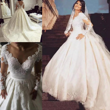 Baroque Summer Long Sleeves satin Wedding Dresses 2019