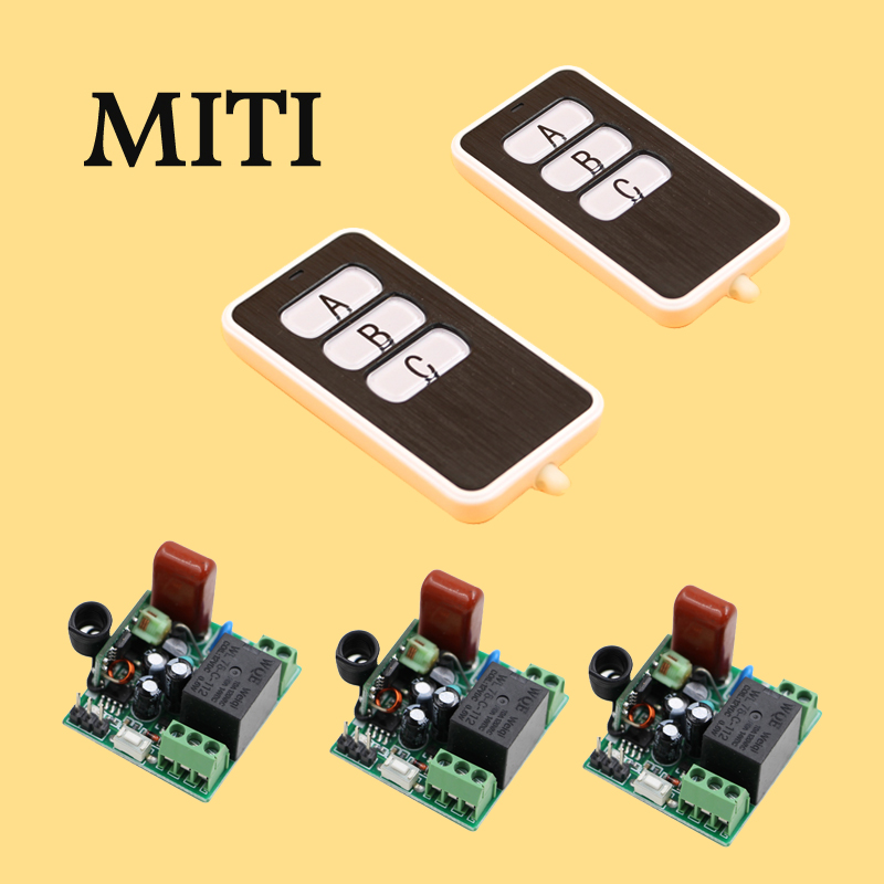 MITI AC 220V Remote Control Switch Light Lamp LED 3Receiver+2 Remote Transceiver 1CH shutter 5511 ac 380v 63a 3 pole 2 knife switch circuit control opening load switch