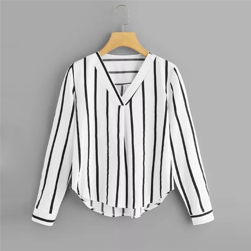 Autumn Long Sleeve V Neck Irregular Stripe Shirt Women Casual Tops And Blouses chemise femme camisas mujer women blouses #10