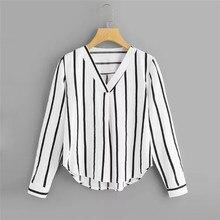Autumn Long Sleeve V Neck Irregular Stripe Shirt Women Casual Tops And