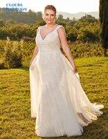 Облака впечатление Сексуальная Милая 2019 на платье невесты свадебное платье Винтаж Vestige De Noiva белое свадебные платья плюс размеры