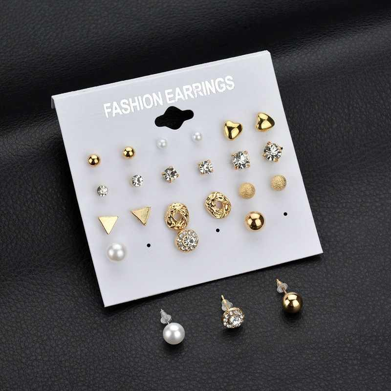 12 Pairs/set Punk Hiphop Heart Stud Earrings Set Women Fashion Crystal Imitiatiion Pearl Round Geometric Earrings Party Jewelry