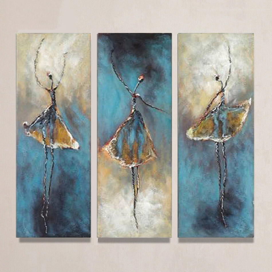 Unframed 3 Panels Vintage Abstract Ballet Dancer Hand Painted Oil Painting On Canvas Wall Art Picture For Living Room Decoration