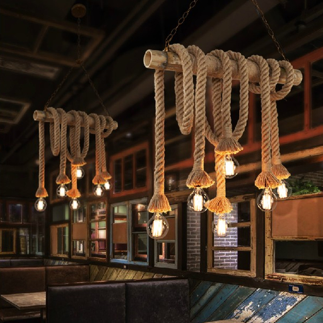 american retro industrial 6 head bamboo rope pendant lamp bar cafe restaurant club clothing shop decoration