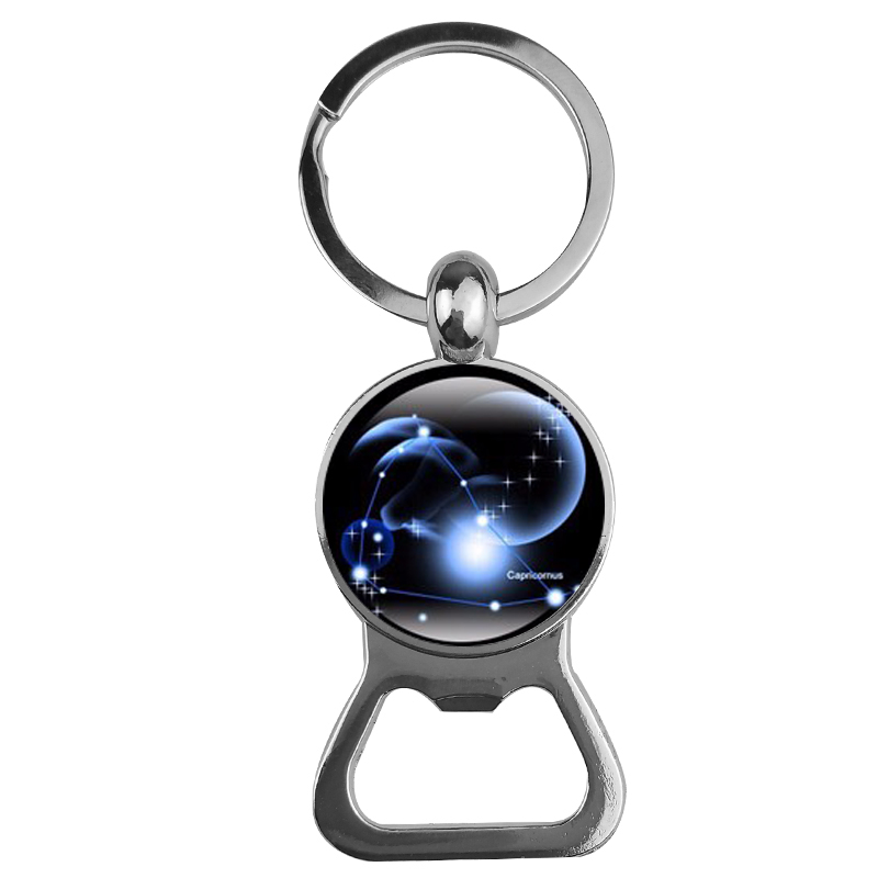 SUTEYI 12 Constellation Key Chains Glass Cabochon Pendant Zodiac Sign Bottle Opener Key Chain Bag Pendant Birthday Gift Jewelry